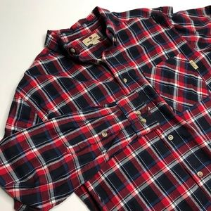 Woolrich Red & Navy 100% Cotton flannel shirt sz L